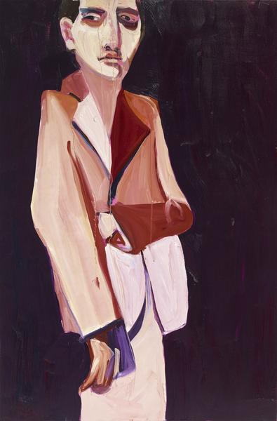 Chantal Joffe BRUNETTE IN A PINK SUIT 2016 Oil on canvas 72 1/8 x 48 1/8 x 1 inches 183.2 x 122.2 x 2.5 centimeters