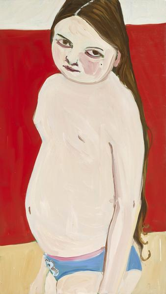 Chantal Joffe BELLA ON RED 2016 Oil on board 48 3/8 x 27 1/8 inches 122.9 x 68.9 centimeters