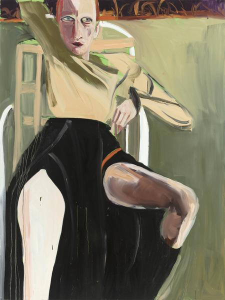 Chantal Joffe REDHEAD IN A GARDEN CHAIR 2017 Oil on canvas 96 1/8 x 72 1/8 x 1 1/4 inches 244.2 x 183.2 x 3.2 centimeters