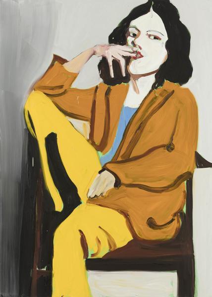 Chantal Joffe YELLOW SLACKS 2017 Oil on canvas 84 x 60 x 1 1/4 inches 213.4 x 152.4 x 3.2 centimeters