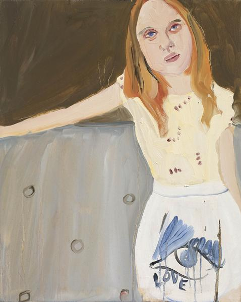 Chantal Joffe YOUNG GIRL ON A SOFA 2016 Oil on board 19 3/4 x 15 3/4 x 1/2 inches 50.2 x 40 x 1.3 centimeters