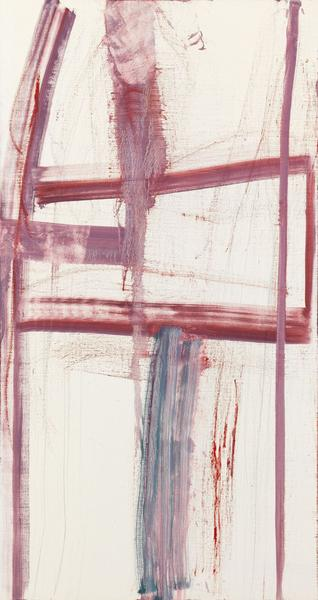 Louise Fishman 	EASY LIVING  2014 	Oil on linen 	64 x 34 inches 	162.6 x 86.4 centimeters