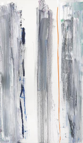 Louise Fishman 	LIVING FORWARD  2014 	Oil on linen 	66 x 39 inches 	167.6 x 99.1 centimeters