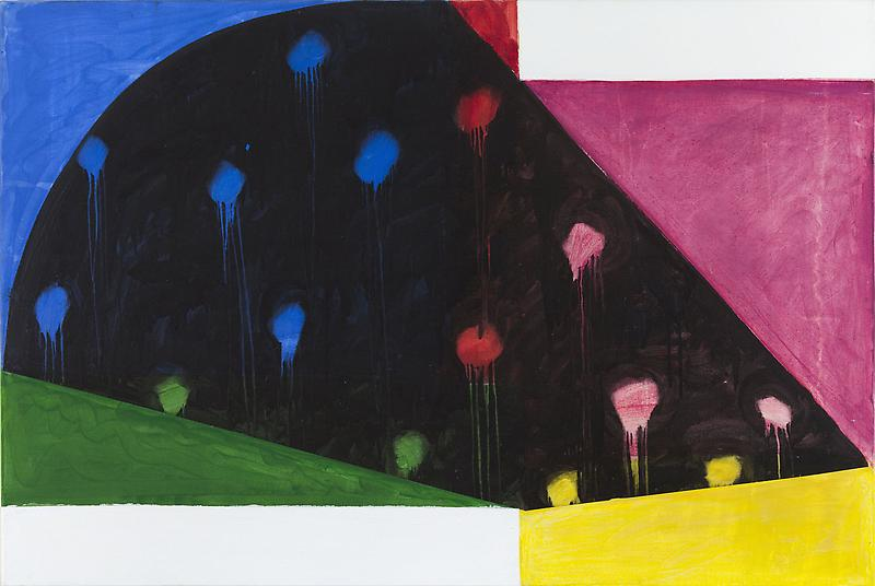 Mary Heilmann 	RIO NIDO 1987 	Acrylic and oil on canvas 	39 x 58 inches 	99.1 x 147.3 centimeters