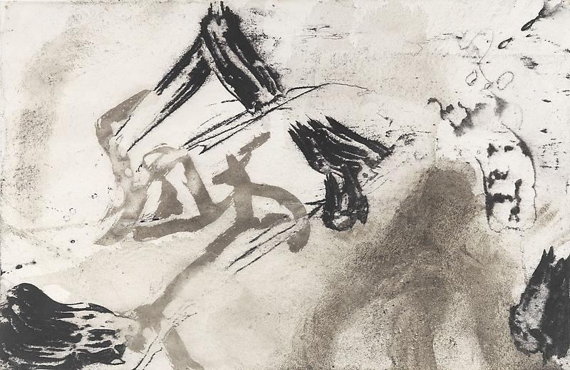 Bill Jensen 	PASSARE DA BERNARDO XLI 2009 	Ink and charcoal on paper 	11 x 17 inches 	27.9 x 43.2 centimeters