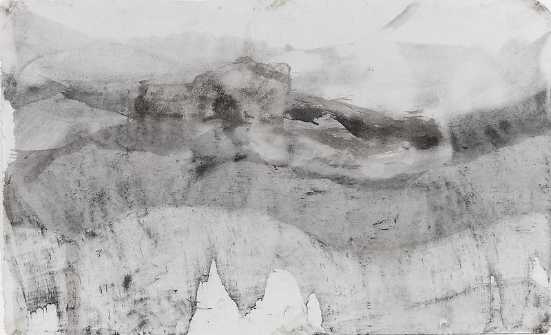 Bill Jensen PASSARE DA BERNARDO VII 2009 Ink on antique paper 9 1/4 x 15 1/4 inches 23.5 x 38.7 centimeters CR# JE.20190