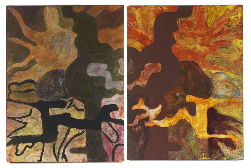 Bill Jensen 	BOOK OF CH'U  2011-12 	Oil on linen diptych 	56 5/8 x 86 inches overall 	143.8 x 218.4 centimeters overall