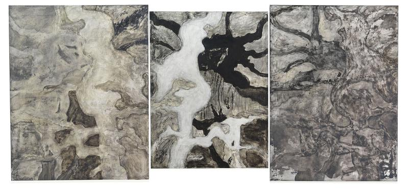 Bill Jensen 	DOUBLE SORROW +1 (GREY SCALE)  2014-15 	Oil on linen triptych 	58 x 129 inches overall 	147.3 x 327.7 centimeters overall