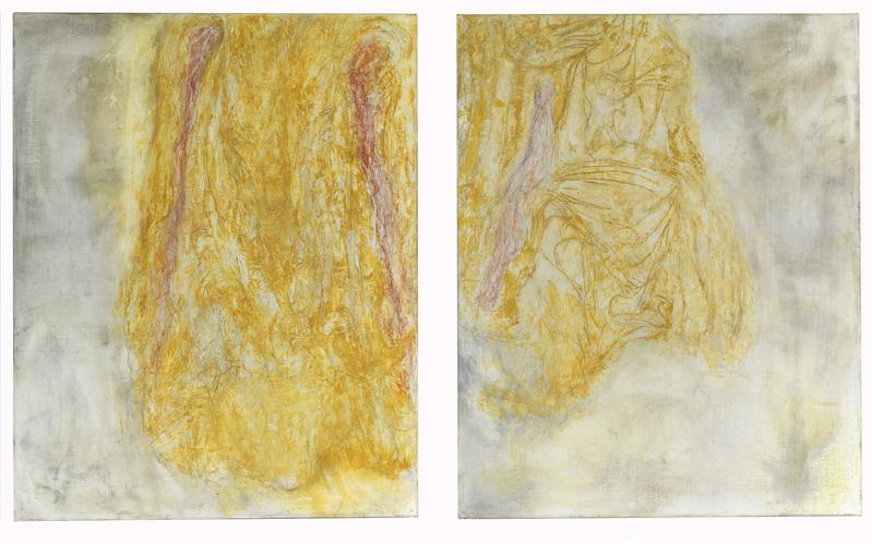 Bill Jensen 	DOUBLE STILLNESS  2014-15 	Oil on linen diptych 	50 x 86 inches overall 	127 x 218.4 centimeters overall