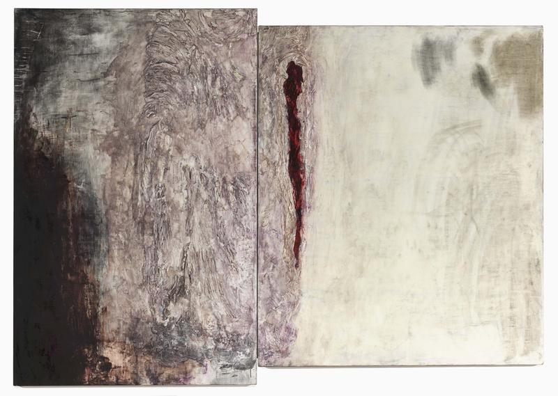 Bill Jensen 	STILLNESS  2012-14 	Oil on linen diptych 	53 1/2 x 74 3/4 inches overall 	135.9 x 189.9 centimeters overall
