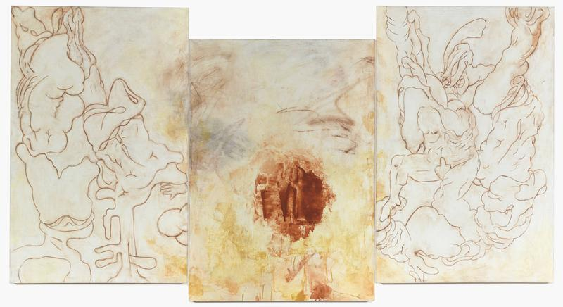 Bill Jensen 	TRANSGRESSIONS  2011-14 	Oil on linen triptych 	55 1/2 x 105 inches overall 	141 x 266.7 centimeters overall