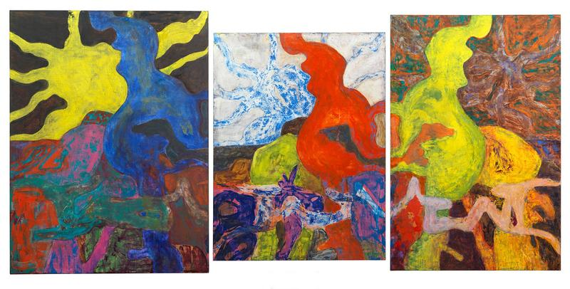 Bill Jensen 	LOOM OF ORIGINS  2014-15 	Oil on linen triptych 	62 x 123 1/2 inches overall 	157.5 x 313.7 centimeters overall