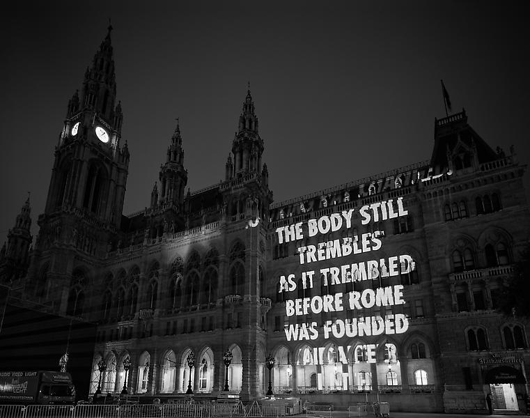 Jenny Holzer 	THE BODY STILL  2008 	Pigment print 	60 x 75 inches 	152.4 x 190.5 centimeters