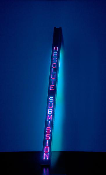 Jenny Holzer 	NEW TILT  2011 	Vertical LED sign: blue & red diodes front; blue & green diodes back, stainless steel housing 	111 1/2 x 6 x 3 5/8 inches 	283.2 x 15.2 x 9.2 centimeters