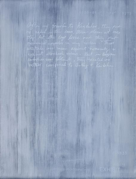 Jenny Holzer 	After my transfer 2014 	Oil on linen 	24 x 18 1/4 x 1 1/2 inches 	61 x 46.4 x 3.8 centimeters