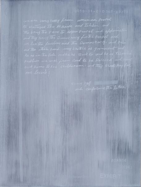 Jenny Holzer 	we are very happy 2014 	Oil on linen 	24 x 18 1/4 x 1 1/2 inches 	61 x 46.4 x 3.8 centimeters