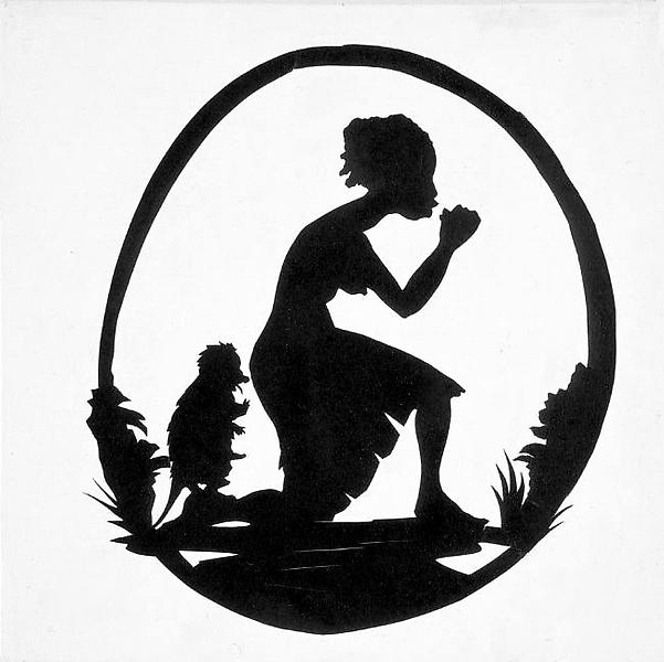 Kara Walker 	UNTITLED 1995 	Gesso and cut paper on canvas 	10 x 10 inches 	25.4 x 25.4 centimeters