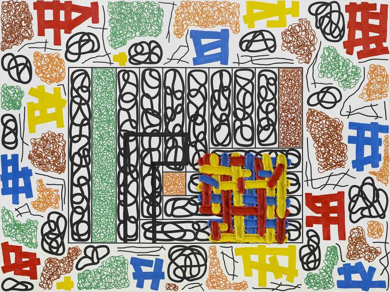 Jonathan Lasker 	THE UNIVERSAL FRAME OF REFERENCE  2014 	Oil on linen 	90 x 120 inches 	228.6 x 304.8 centimeters