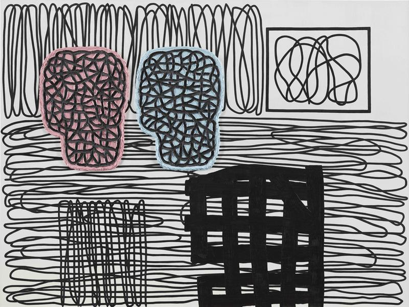 Jonathan Lasker 	PICTORIAL OBJECTS  2014 	Oil on linen 	60 x 80 inches 	152.4 x 203.2 centimeters