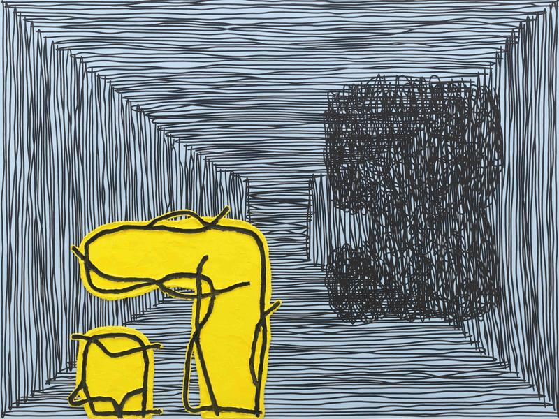 Jonathan Lasker 	THE END OF RELEVANCE  2015 	Oil on linen 	60 x 80 inches 	152.4 x 203.2 centimeters