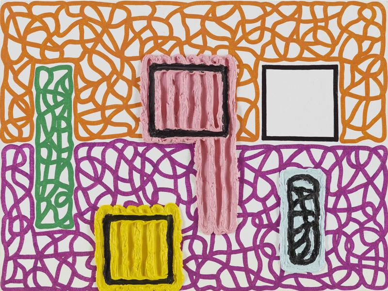 Jonathan Lasker 	COMMERCIAL CULTS  2014 	Oil on canvasboard 	12 x 16 inches 	30.5 x 40.6 centimeters