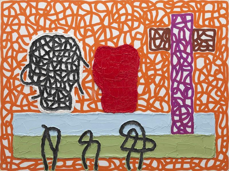 Jonathan Lasker 	TRUST OVER TRUTH  2015 	Oil on canvasboard 	12 x 16 inches 	30.5 x 40.6 centimeters