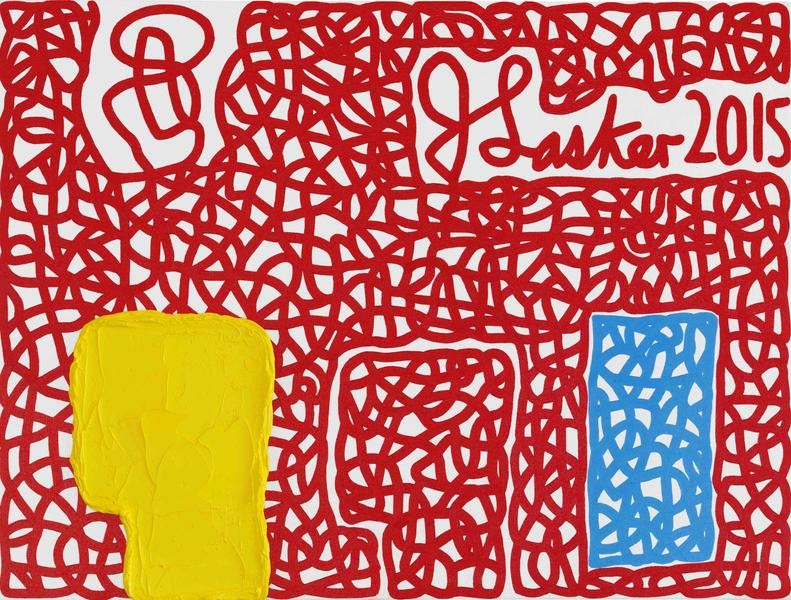 Jonathan Lasker 	SIGNATORY POWERS  2015 	Oil on canvasboard 	12 x 16 inches 	30.5 x 40.6 centimeters