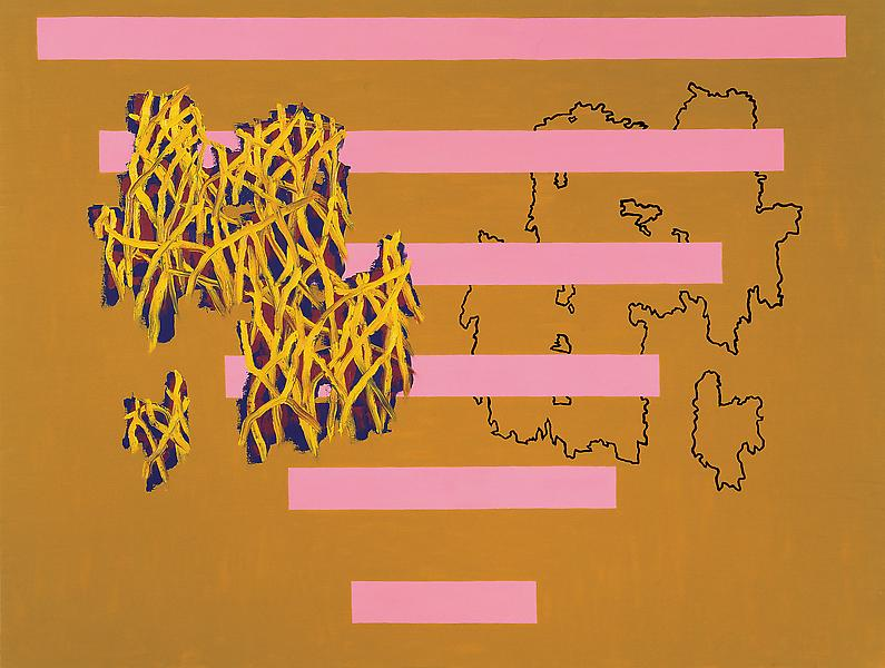 Jonathan Lasker 	DOUBLE PLAY 1987 	Oil on linen 	76 x 100 inches 	193 x 254 centimeters