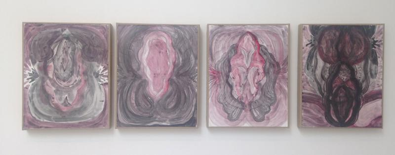 Jack Pierson UNTITLED 2015 Watercolor and graphite on paper mounted on linen; 4 elements 14 1/2 x 49 1/4 x 3/4 inches overall 36.8 x 125.1 x 1.9 centimeters overall PI.35280