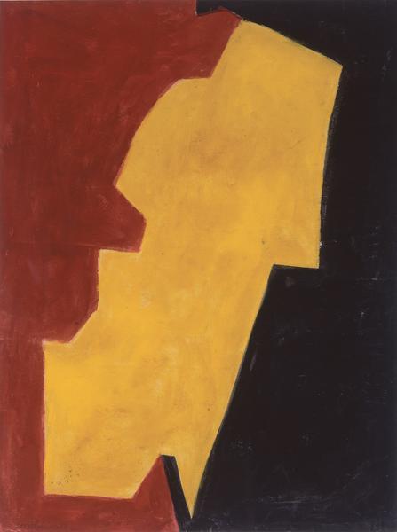 Serge Poliakoff ROUGE, JAUNE ET NOIR 1951 Gouache on paper 23 1/4 x 17 3/8 inches 59 x 44 centimeters