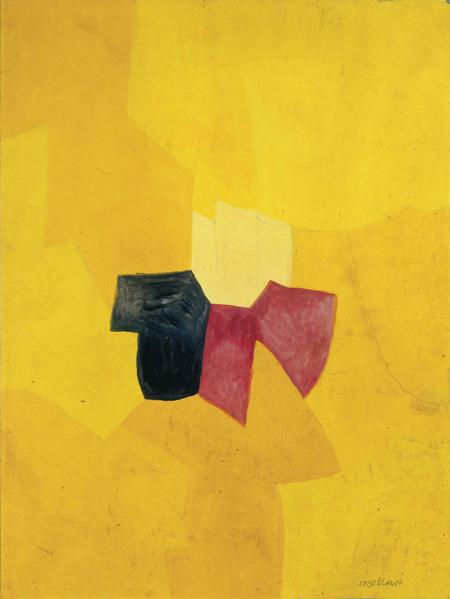 Serge Poliakoff COMPOSITION JAUNE Circa 1955 Gouache on paper 24 3/8 x 18 1/2 inches 62 x 47 centimeters