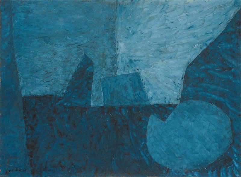 Serge Poliakoff COMPOSITION EN BLEUE AU CERCLE II 1955 Oil on panel 38 1/8 x 51 1/8 inches 97 x 130 centimeters
