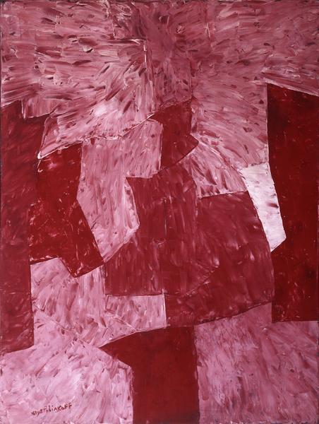 Serge Poliakoff ROSE ET LIE DE VIN 1958 Oil on panel 51 1/8 x 38 1/8 inches 130 x 97 centimeters