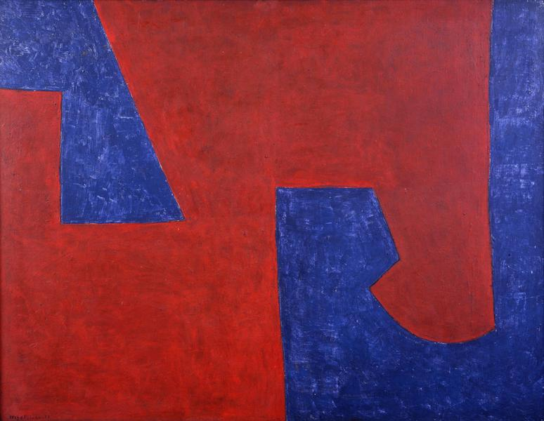 Serge Poliakoff BLEU ROUGE 1951 Oil on canvas 35 1/8 x 45 5/8 inches 89 x 116 centimeters