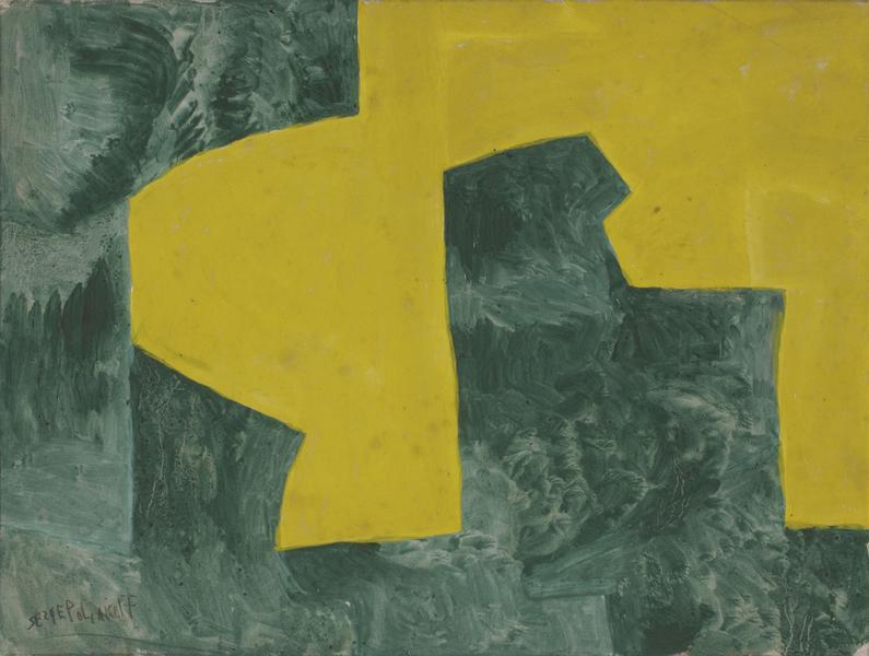 Serge Poliakoff JUANE ET VERT 1961 Gouache on paper 18 1/2 x 24 inches 47 x 61 centimeters