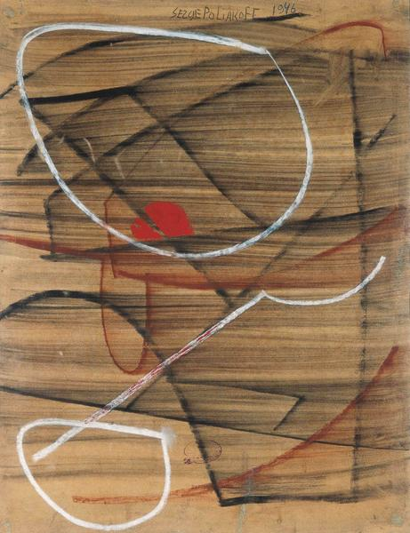 Serge Poliakoff COMPOSITION ABSTRAITE Circa 1946-48 Charcoal, chalk and gouache on paper 25 5/8 x 19 3/8 inches 65 x 49 centimeters