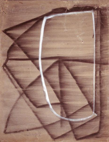 Serge Poliakoff COMPOSITION ABSTRAITE Circa 1946-48 Charcoal and chalk on paper 25 1/4 x 19 5/8 inches 64 x 50 centimeters