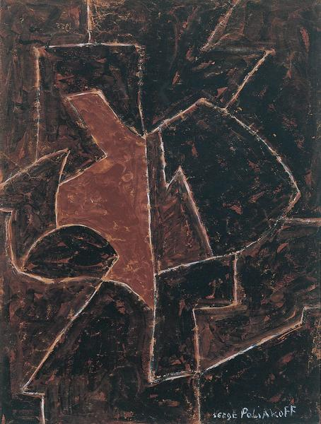 Serge Poliakoff COMPOSITION ABSTRAITE 1955 Gouache on kraft paper 23 5/8 x 17 3/4 inches 60 x 45 centimeters