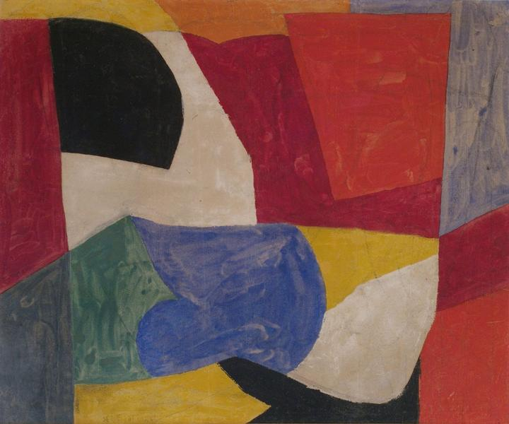 Serge Poliakoff COMPOSITION ABSTRAITE 1950 Gouache on paper 12 1/2 x 15 1/4 inches 32 x 38.5 centimeters