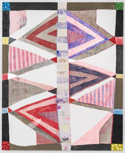 Laurel Sparks SYZYGY 2017 Poured Gesso, acrylic, ink, crayon, marker, ash, paper maché, glitter, woven canvas strips, braided yarn, cutouts, collage, rhinestones and clay beads on canvas 66 x 54 inches 167.6 x 137.2 centimeters