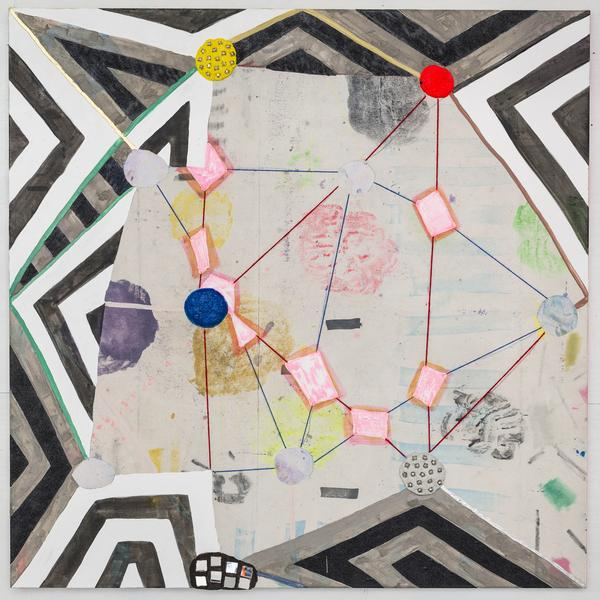Laurel Sparks GEOMANTRIA 2018 Poured gesso, acrylic, ink, crayon, paper maché, ash, glitter, jingle bells, mirrors, cut holes, collage and yarn on canvas 54 x 54 inches 137.2 x 137.2 centimeters