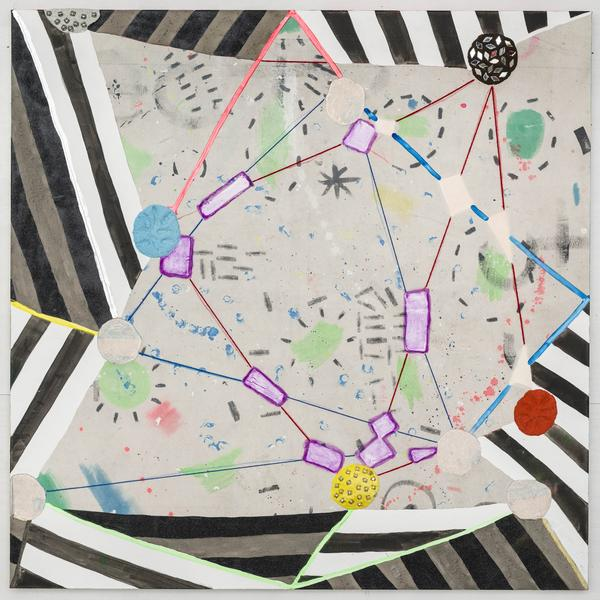 Laurel Sparks STRING FIGURE 2018 Poured gesso, acrylic, ink, crayon, paper maché, ash, glitter, jingle bells, mirrors, cut holes, collage and yarn on canvas 54 x 54 inches 137.2 x 137.2 centimeters