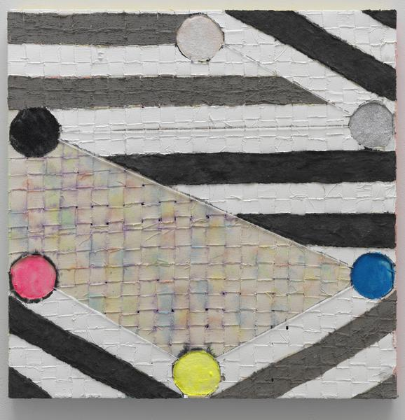 Laurel Sparks STANZA I 2018 Acrylic, poured gesso, paper maché, ash, cut holes, collage, glitter and yarn on woven canvas strips 24 x 24 inches 61 x 61 centimeters
