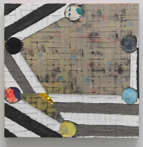 Laurel Sparks STANZA VI 2018 Acrylic, poured gesso, paper maché, ash, cut holes, collage, glitter and yarn on woven canvas strips 24 x 24 inches 61 x 61 centimeters