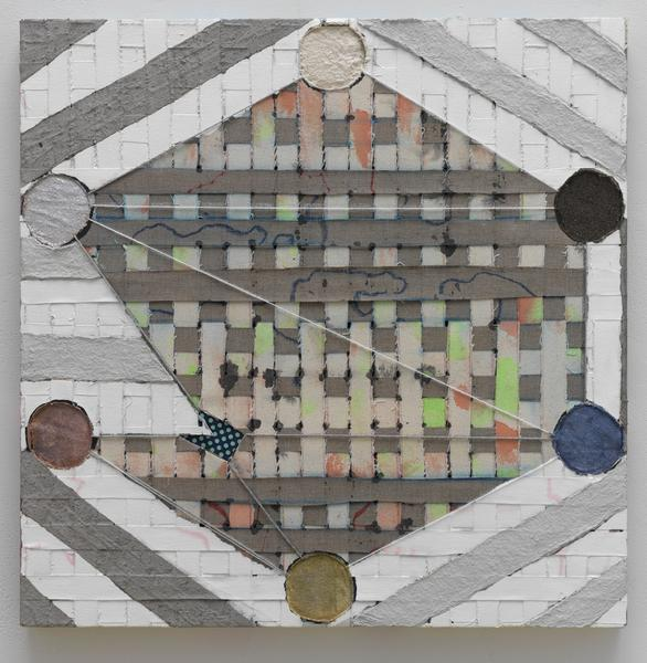 Laurel Sparks TERCET I (SQUARE VII) 2018 Acrylic, poured gesso, paper maché, ash, cut holes, collage, glitter and yarn on woven canvas strips 24 x 24 inches 61 x 61 centimeters