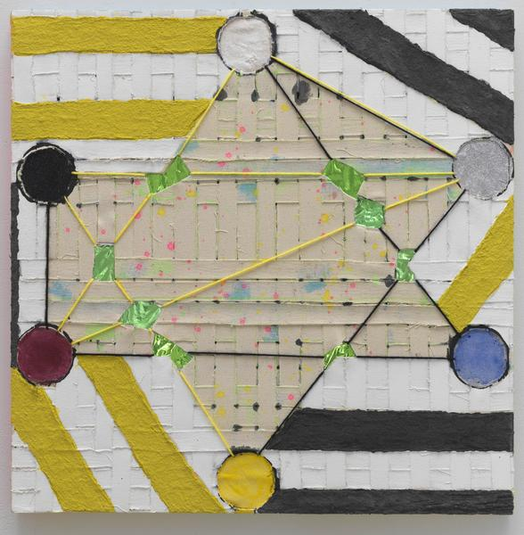 Laurel Sparks TERCET III (SQUARED IX) 2018 Acrylic, poured gesso, paper maché, cut holes, collage, dry pigment, glitter and yarn on woven canvas strips 24 x 24 inches 61 x 61 centimeters