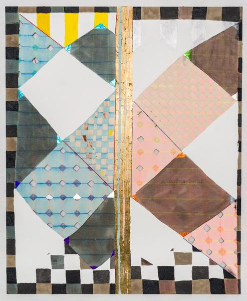 Laurel Sparks TRACING BOARD 2017 Acrylic, ink, gouache, crayon, paper maché, woven canvas, ash, glitter, cut holes, metallic paper, gold leaf on canvas 66 x 54 inches 167.6 x 137.2 centimeters