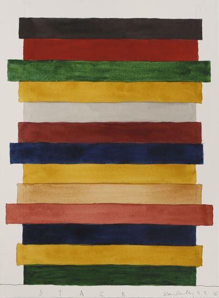Sean Scully 	STACK 5.5.16  2016 	Watercolor on paper 	30 1/4 x 22 inches 	76.8 x 55.9 centimeters
