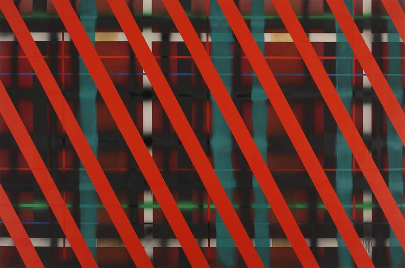 Sean Scully 	RED SLIDE  1972 	Acrylic on canvas 	96 x 143 1/2 inches 	243.8 x 364.5 centimeters