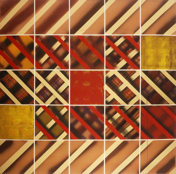 Sean Scully 	GRID  1973 	Acrylic on canvas 	96 x 96 inches 	243.8 x 243.8 centimeters